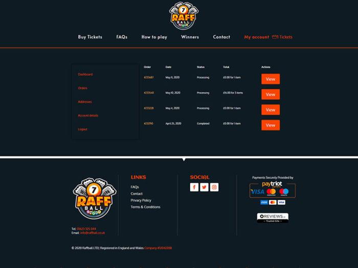 Raffball Orders Page