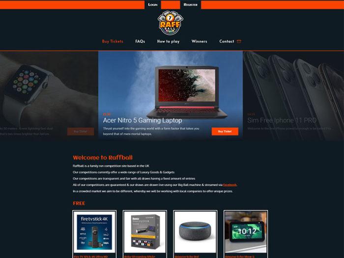 Raffball Home Page Demo Top